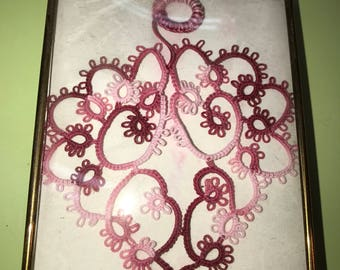 tatted vintage heart and frame