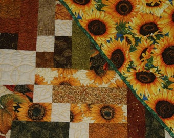 Throw quilt, girls quilt, sofa throw,lap throw, sunflowers, housewarming  gift