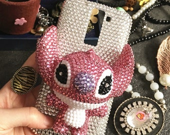 Bling New Sparkles Luxury Sapphire Pink 3D Stitch Charms Gems Crystals Rhinestones Diamonds Fashion Lovely Hard Cover Case for Mobile Phones