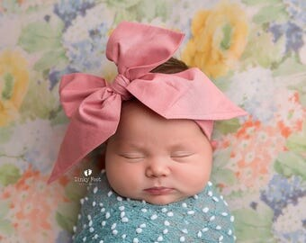 VINTAGE PINK Gorgeous Wrap- headwrap; fabric head wrap; pink head wrap; boho; newborn headband; baby headband; toddler headband