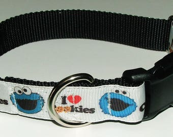 """Cookie Monster Dog Collar 1"""" width - Free Shipping"""