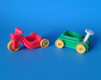 """Fisher Price Little People """" #656 Little Riders Wagon & Tricycle """" 1970's"""