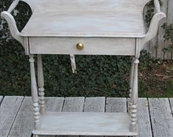 Antique oak and maple wash stand painted
