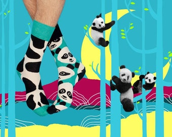 Stains Socks, Panda Socks, Mismatched Panda Socks, Panda Socks for Women and Men, Cute Panda Socks, Women Socks, Men Socks