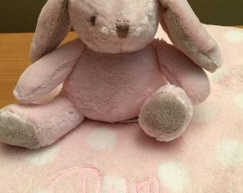 Monogrammed Bunny Blanket and Stuffed Plush Animal - Baby Blankie - Security Blanket - Baby Shower Gift - Monogrammed Animal