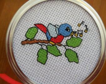 Cross stitch Mason jar ~ Singing Blue Bird