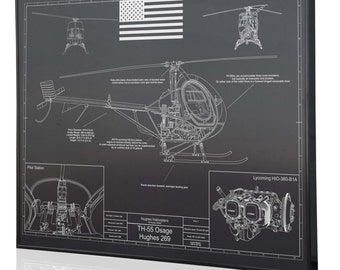 Helicopter blueprint etsy hughes th 55 osage laser engraved wall art poster engraved on metal acrylic malvernweather