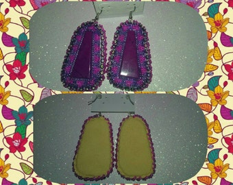 Purple and magenta earrings