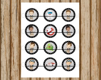 INSTANT DOWNLOAD- Boys Ghostbusters Cupcake Toppers- Ghostbuster Cupcake Toppers- Ghostbuster 2 Inch Cupcake Topper- Digital Image-8.5 x 11
