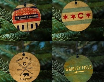 Chicago Cubs Christmas Ornament Set of four, Wooden Baseball Fan Tree Gifts 2016