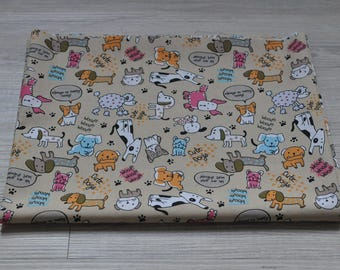 cute funny  dog Fabric 1/2 yard yellow