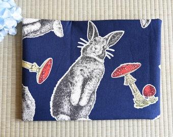 Rabbit mushroom cotton fabric 1/2 yard dark blue