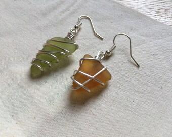Seaglass Earrings - mismatched (green & orange)