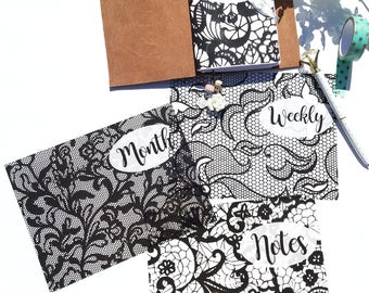 Acetate Black Lace Planner Dashboards For TN's and Midori Travelers Notebook A112