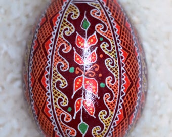 Chicken Egg Pysanky (Ukrainian Batik Dye Decorated Egg) 2017-C7