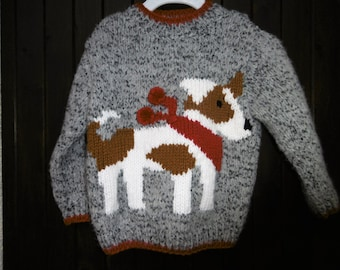 child sweater knitted hand ground jack russel