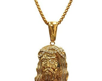 18k Gold Plated Jesus Face Pendant Stainless Steel Necklace with Glittered Sandblast Finish