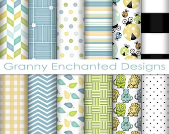 Lady Bug Paper Pack: 12 Digital Papers– in Blue, Green, Yellow, Black, and White Scrapbook Patterns (011p1)