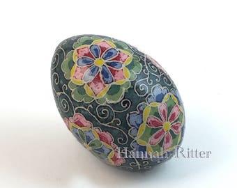 Chicken Egg Pysanka, Japanese Floral