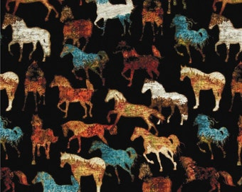 Unbridled Horses on Black Quilting Fabric - Fat Quarter or Yardage