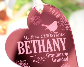 My First 1st Christmas Ornament, Engraved Christmas Decoration, Couples First Christmas Together Ornament, Christmas Gift, Heart
