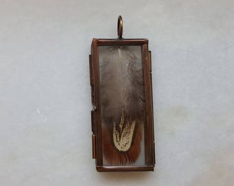 Stained Glass Locket Filled with Feather
