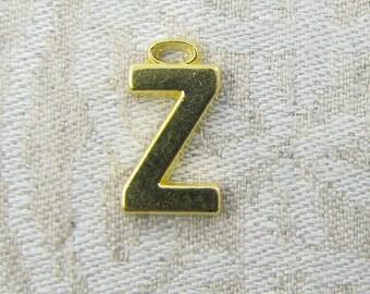 "Gold Wide Sans Serif Letter ""Z"" Charm, 1 or 5 letters per package  ALF005z-GL"