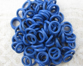 """Rubber EDPM (Latex Free), Blue, 100 Jump Rings, 16ga (0.051"""" or 1.291mm), 1/4'' (.25"""", 6.4mm) ID, 100 per package  FIN301"""