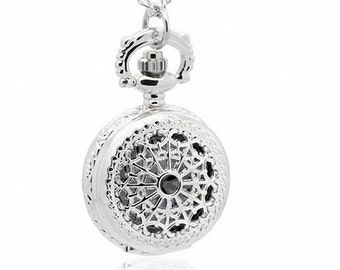 1pcs/ 25mm ,Retro Mini Spider web pocket watch Necklace Chain,Necklace Pendant,craft supply BM-116