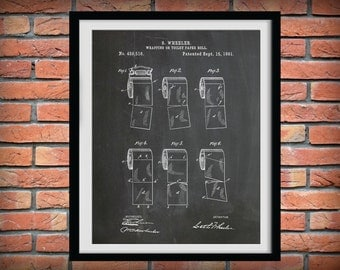 Patent 1891 Toilet Paper Roll - Bathroom Wall Art - Art Print - Lavatory Wash Room Art - Toiletry Art - Poster Print