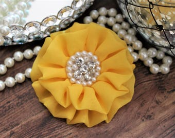 "4"" Bright YELLOW Chiffon Fabric Flowers with Crystal Pearl Center - Fluffy - Beautiful -Hair Accessories - Wedding - TheFabFind"