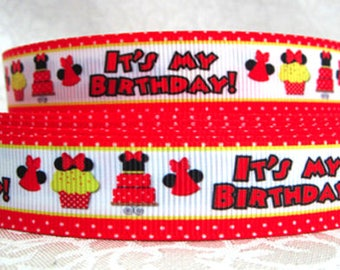 """7/8"""" inch It's My Birthday - Birthday Girl - Mouse Red on White -  Printed Grosgrain Ribbon for Hair Bow TheFabFind"""