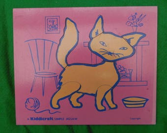 vintage wooden play tray Cat 1960's