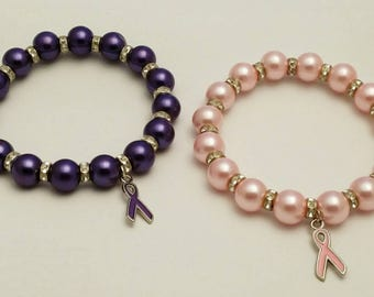 Breast Cancer, Domestic Violence, Domestic, Purple, Pink, Breast Cancer, Bracelet, Awareness, Lupus, Purple Awareness, Alzheimer's, Sparkle