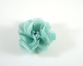 Aqua Flower Clip. Chiffon Flower Clip. Flower Hair Clip. Easter Bow. Toddler Barrette. Baby Barrette. Flower Barrette. Aqua Toddler Clip