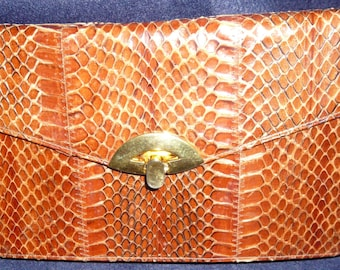 1970's Jane Shilton Real Leather Snakeskin Clutch Bag
