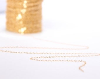 10 Feet - 14k Gold Filled Chain - 1.3mm Flat Cable Chain - Thin Chain - Delicate Chain - Gold Chain - Wholesale - Custom Length / GF-CH008