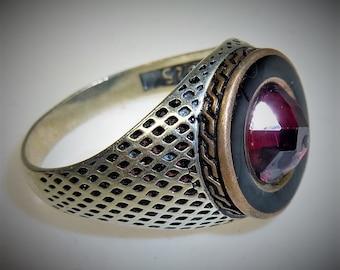 Silver Ring, US Size 11,5, Arabic Ring, African Silver-Ring, Islamic Ring with Garnet Jewel, Garnet-Ring