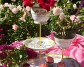 Mad Hatter Tea, Marie Antoinette Party, Three Tier, High Tea, Vintage China Server, 3 tier cake stand, Teacup, Oval Platter, Noritake