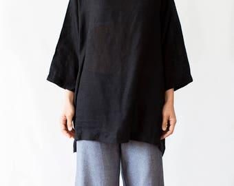 Linen pull over tunic in black