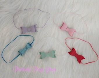Skinny Headband Lot - Baby Headbands - Newborn - Toddler - Baby Girl - Bows - Leather Bows - Skinny Headbands - Spring Headband - Girl