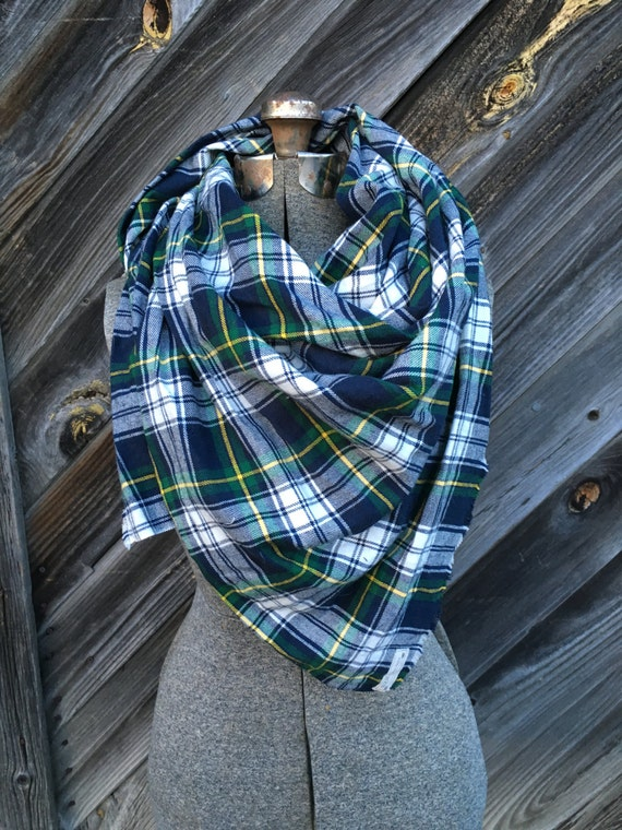 green, navy and yellow plaid blanket scarf with leather detail