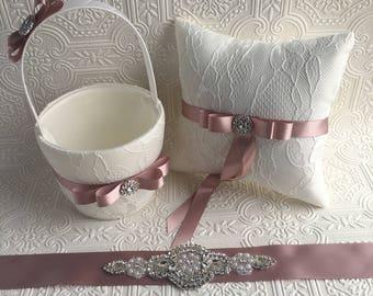 blush flower girl basket and ring bearer pillow, flower girl basket, wedding basket, wedding decoration, ivory flower girl basket