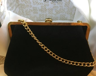 Beautiful black velvet vintage Lewis bag