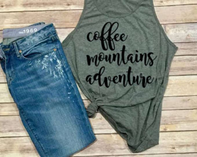 Coffee Mountains Adventures - Unisex Adult Shirt - Hiking - Road Trip - Women's Shirt - Gift for her - Gift for Mom - Camping - Triblend Tee
