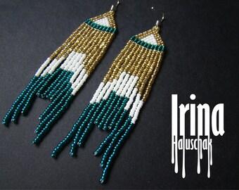 Emerald and gold boho earrings beaded earrings emerald earrings seed bead earrings fringe earrings dangle earrings very long earrings