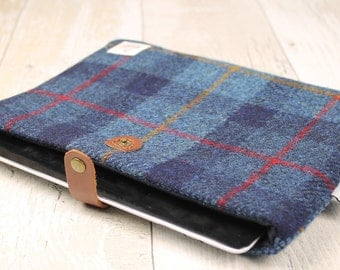 iPad Cover / Navy Check / Harris Tweed / Plaid Tablet Cover / Tartan Tablet Cover
