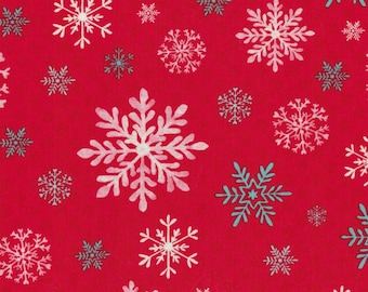 Red Snowflake - Peppermint Penguin - Studio E - 100% Cotton Fabric