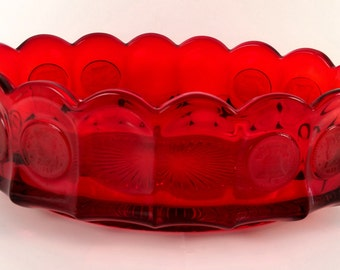 VINTAGE Fostoria Glass Ruby Red, Coin Dot, Serving Bowl with a Scalloped Edge