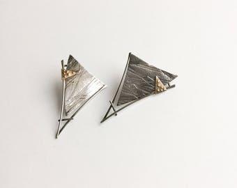 Bold 1980s Deconstruction Designed Artisan Earrings